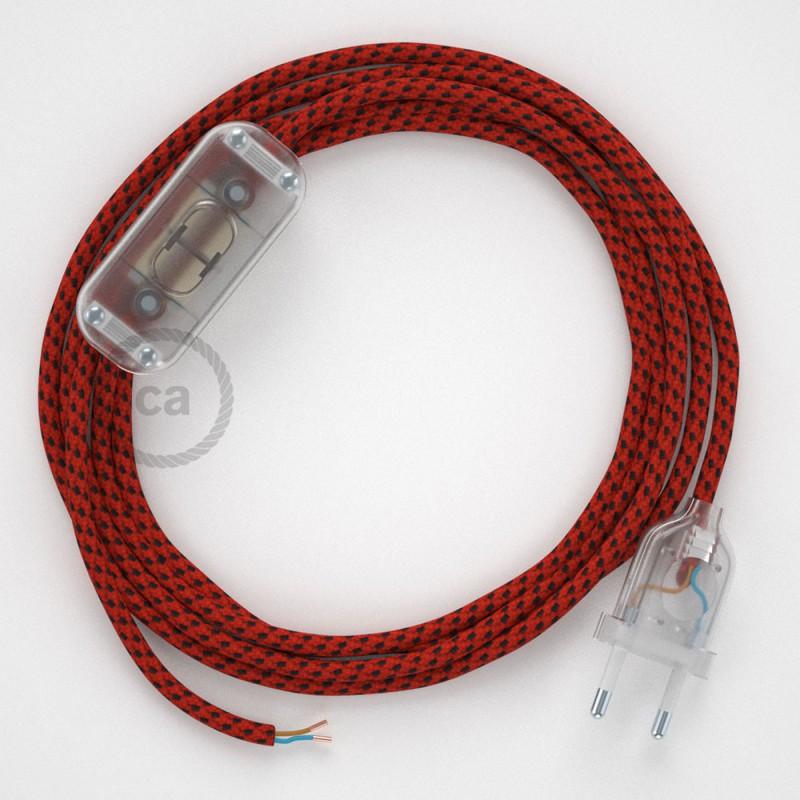 Napájací kábel pre stolnú lampu, RT94 Red Devil hodvábny 1,80 m. Vyberte si farbu zástrčky a vypínača.