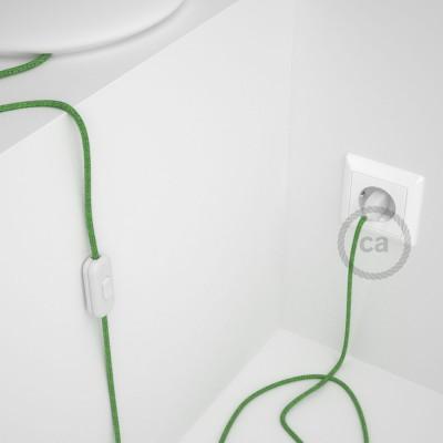 Napájací kábel pre stolnú lampu, RX08 Zelený mixovaný bavlnený 1,80 m. Vyberte si farbu zástrčky a vypínača.