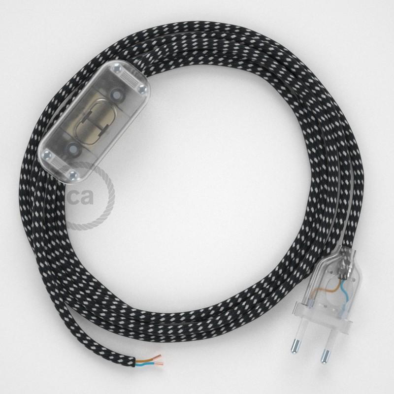 Napájací kábel pre stolnú lampu, RT41 Stars hodvábny 1,80 m. Vyberte si farbu zástrčky a vypínača.