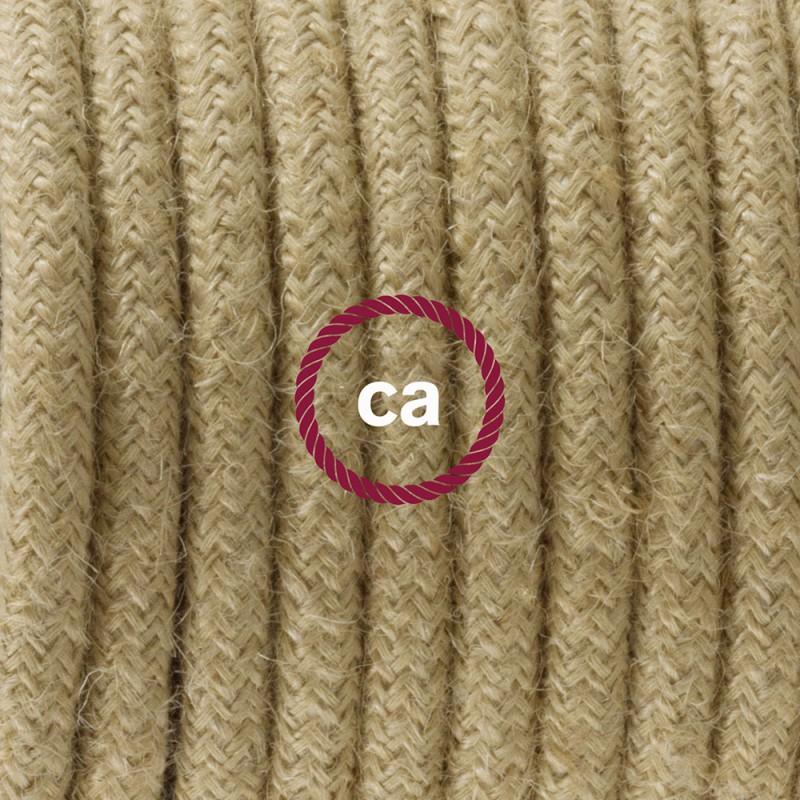 Napájací kábel pre stolnú lampu, RN06 jutový 1,80 m. Vyberte si farbu zástrčky a vypínača.