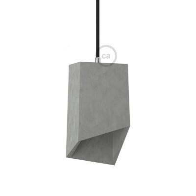 Betónové tienidlo Prisma s káblovou svorkou E27 objímkou