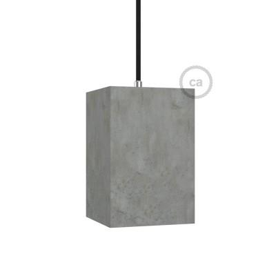 Betónové tienidlo Cubo s káblovou svorkou E27 objímkou