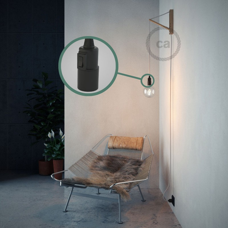 """Had"" závesná lampa s textilným káblom - bavlna - biela RC01"