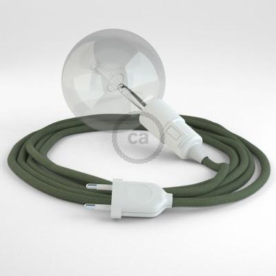 """""""Had"""" závesná lampa s textilným káblom - bavlna - zeleno šedá RC63"""