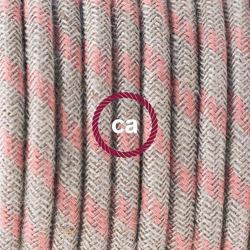 """""""Had"""" závesná lampa s textilným káblom - bavlna - pruhy staroružová farba, ľan prírodná neutrálna farba RD51"""