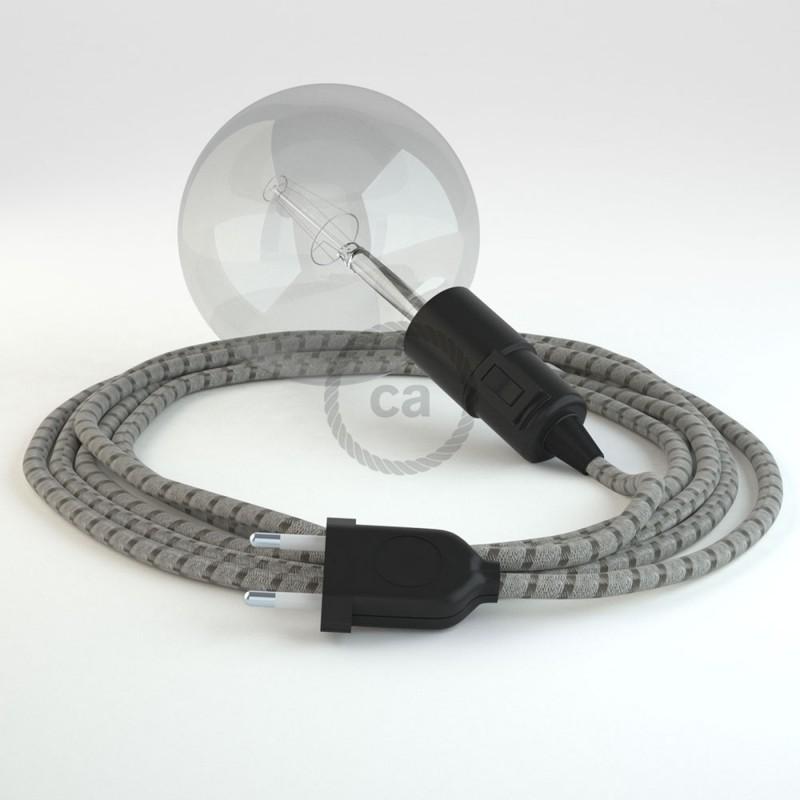 """""""Had"""" závesná lampa s textilným káblom - bavlna - pruhy kôrová farba, ľan prírodná neutrálna farba RD53"""