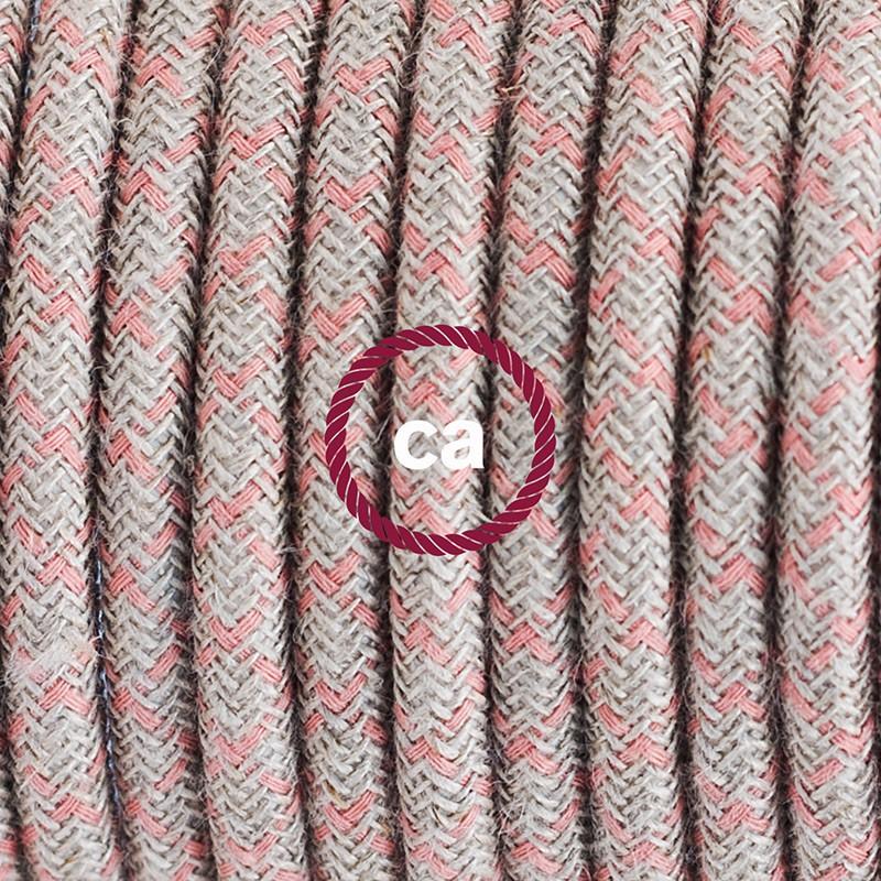 """""""Had"""" závesná lampa s textilným káblom - bavlna - kosoštvorce staroružová farba, ľan prírodná neutrálna farba RD61"""