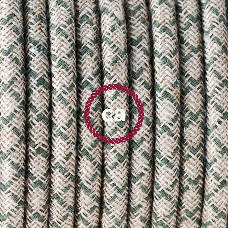 """""""Had"""" závesná lampa s textilným káblom - bavlna - kosoštvorce tymiánová zelená farba, ľan prírodná neutrálna farba RD62"""