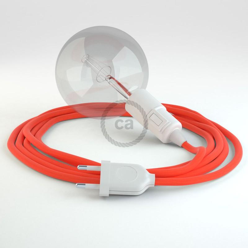 """""""Had"""" závesná lampa s textilným káblom - hodváb - fluo - žltá  RF10"""