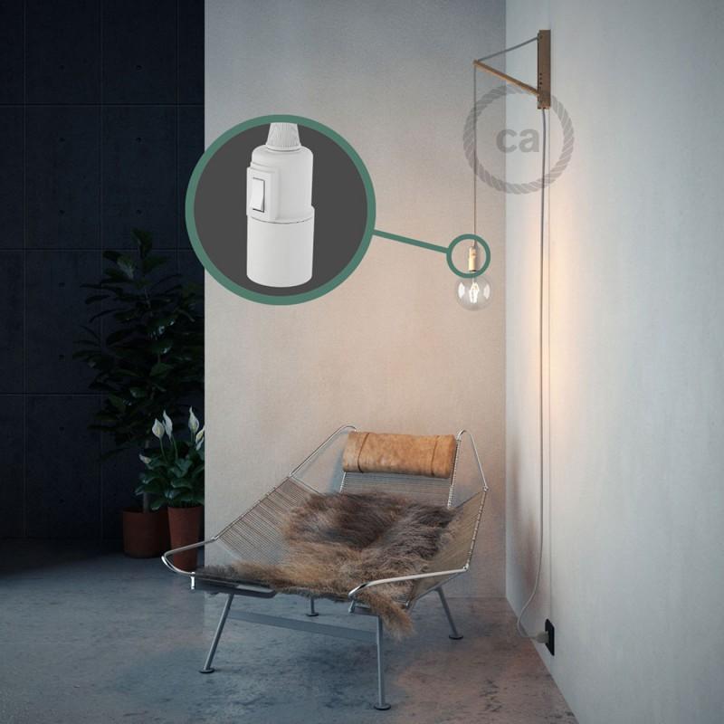 """""""Had"""" závesná lampa s textilným káblom - hodváb - lesklá - biela RL01"""