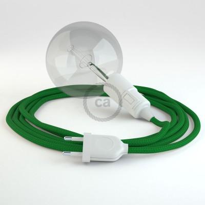 """""""Had"""" závesná lampa s textilným káblom - hodváb - zelená RM06"""