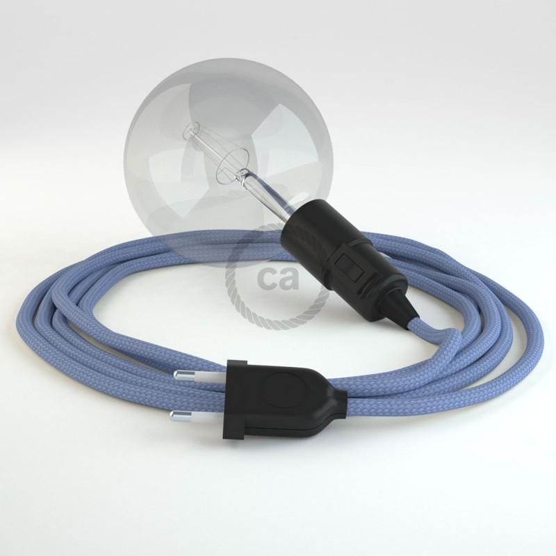 """Had"" závesná lampa s textilným káblom - hodváb - lila RM07"