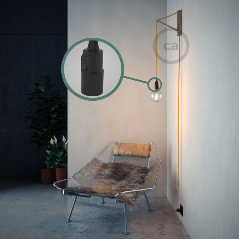 """""""Had"""" závesná lampa s textilným káblom - hodváb - žltá RM10"""