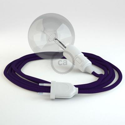 """""""Had"""" závesná lampa s textilným káblom - hodváb - fialová RM14"""