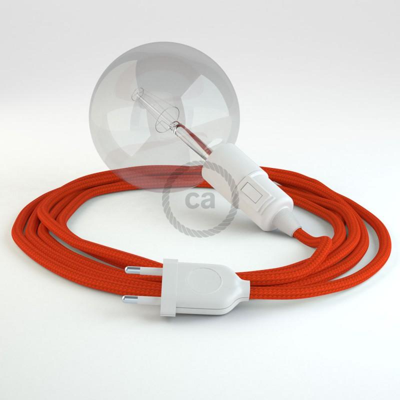"""""""Had"""" závesná lampa s textilným káblom - hodváb - oranžová RM15"""