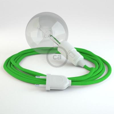 """""""Had"""" závesná lampa s textilným káblom - hodváb - limetková zelená RM18"""