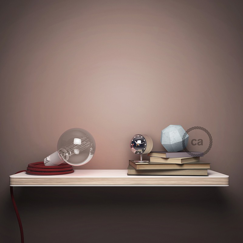"""Had"" závesná lampa s textilným káblom - hodváb - bordová RM19"