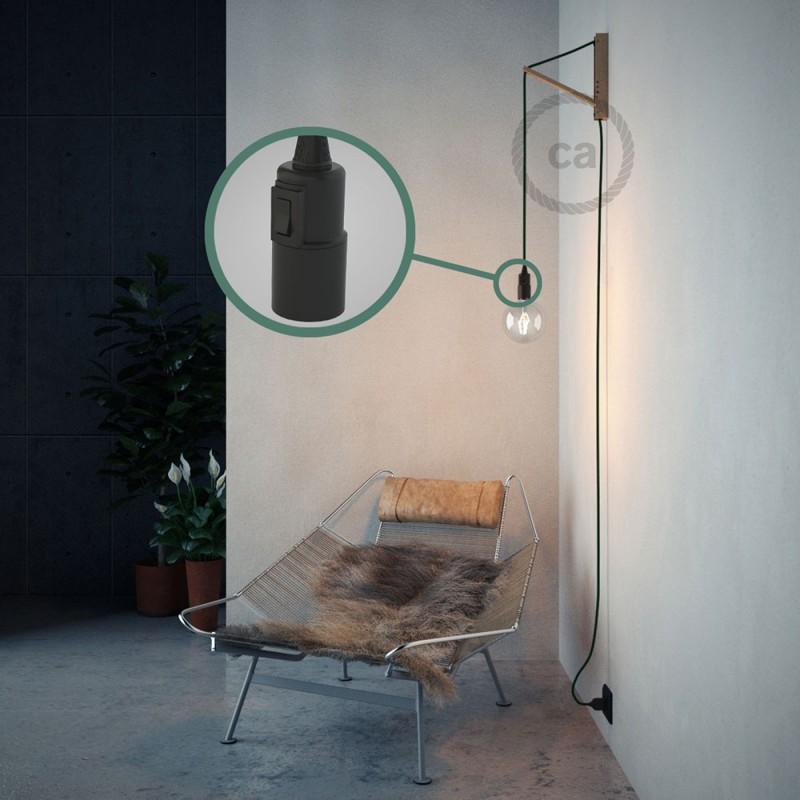 """Had"" závesná lampa s textilným káblom - hodváb -  tmavo zelená RM21"