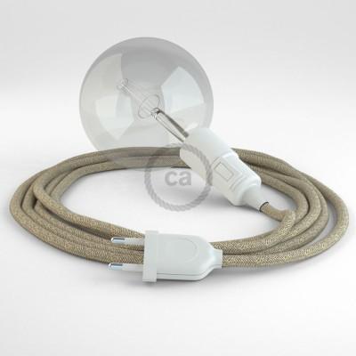 """""""Had"""" závesná lampa s textilným káblom - ľan - prírodná neutrálna farba RN01"""