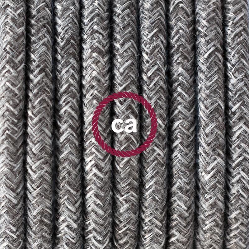 """""""Had"""" závesná lampa s textilným káblom - ľan - prírodná šedá farba RN02"""