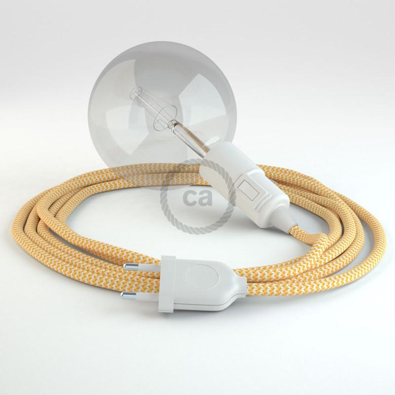 """""""Had"""" závesná lampa s textilným káblom - hodváb - cik cak žltá RZ10"""