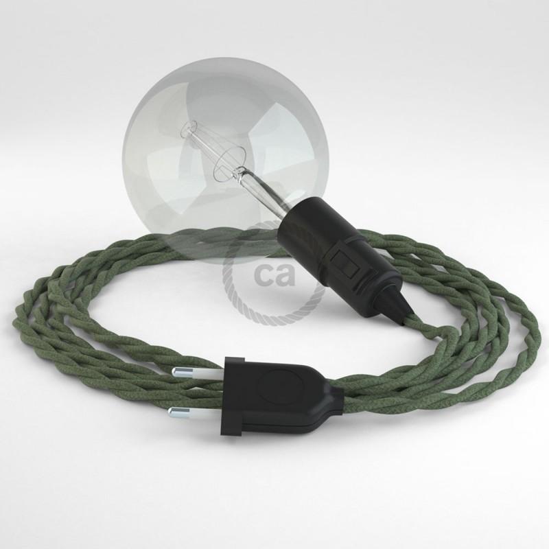 """""""Had"""" závesná lampa s textilným káblom - bavlna - zeleno šedá TC63"""