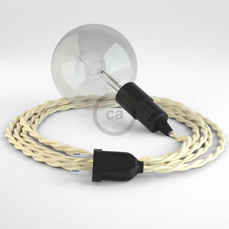 """""""Had"""" závesná lampa s textilným káblom - hodváb - slonovinová TM00"""
