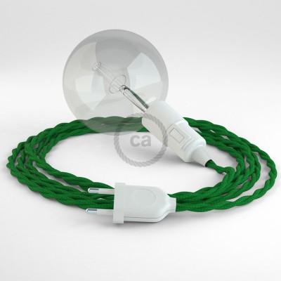 """Had"" závesná lampa s textilným káblom - hodváb - zelná TM06"