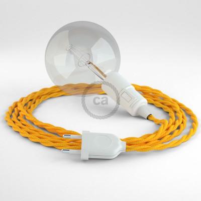 """""""Had"""" závesná lampa s textilným káblom - hodváb - žltá TM10"""