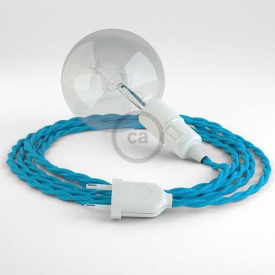 """""""Had"""" závesná lampa s textilným káblom - hodváb - tyrkysová TM11"""