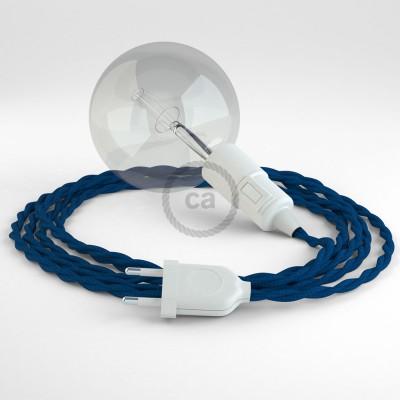 """""""Had"""" závesná lampa s textilným káblom - hodváb - modrá TM12"""