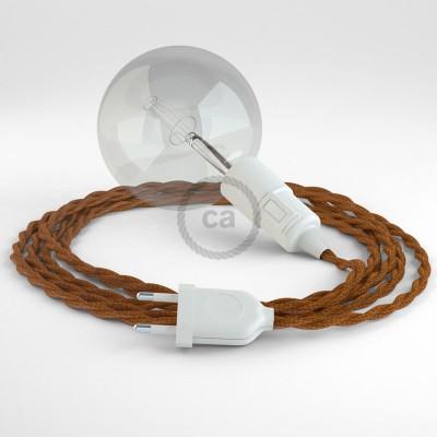"""""""Had"""" závesná lampa s textilným káblom - hodváb - whisky TM22"""