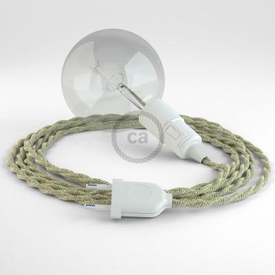 """""""Had"""" závesná lampa s textilným káblom - ľan - prírodná neutrálna farba TN01"""