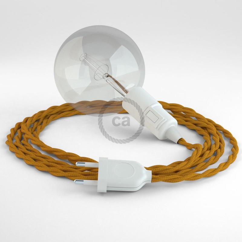 """Had"" závesná lampa s textilným káblom - hodváb - horčicová TM25"