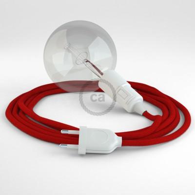 """""""Had"""" závesná lampa s textilným káblom - bavlna - ohnivo červená RC35"""