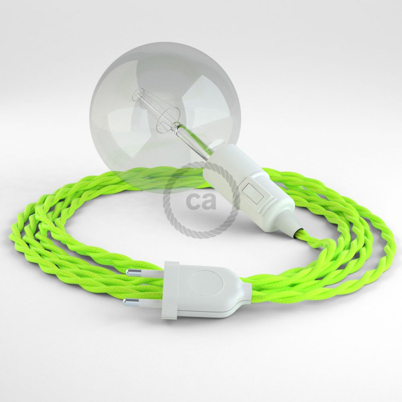 """Had"" závesná lampa s textilným káblom - hodváb - fluo - žltá  TF10"