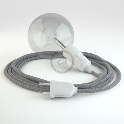 """""""Had"""" závesná lampa s textilným káblom - bavlna - modré kosoštvorce , ľan prírodná farba RD65"""