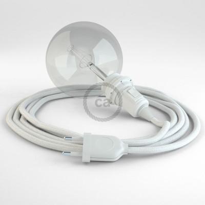 """""""Had"""" závesná lampa pre tienidlo s textilným káblom - bavlna - biela RC01"""