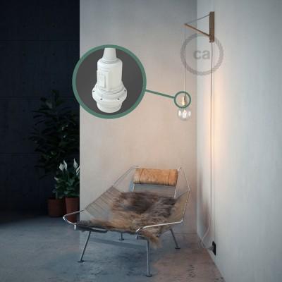 """""""Had"""" závesná lampa pre tienidlo s textilným káblom - hodváb - biela RM01"""