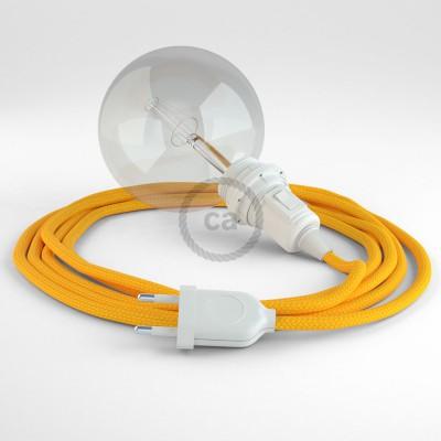 """""""Had"""" závesná lampa pre tienidlo s textilným káblom - hodváb - žltá RM10"""