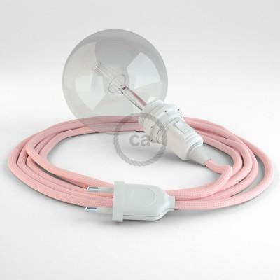 """""""Had"""" závesná lampa pre tienidlo s textilným káblom - hodváb - ružová RM16"""