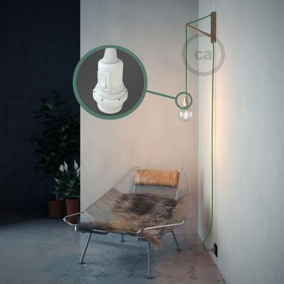 """""""Had"""" závesná lampa pre tienidlo s textilným káblom - hodváb - limetková zelená RM18"""