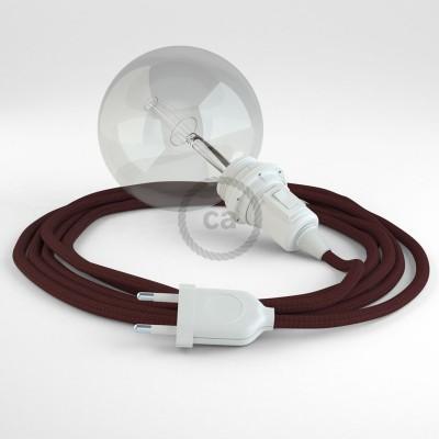 """""""Had"""" závesná lampa pre tienidlo s textilným káblom - hodváb - bordová RM19"""