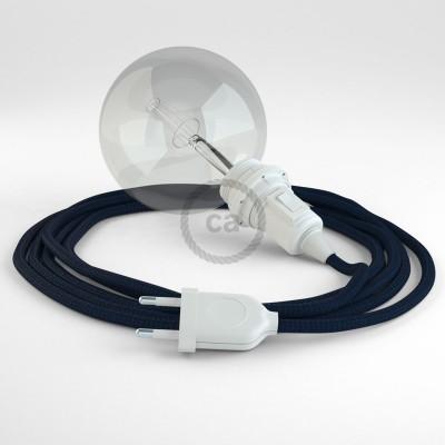 """""""Had"""" závesná lampa pre tienidlo s textilným káblom - hodváb - tmavo modrá RM20"""