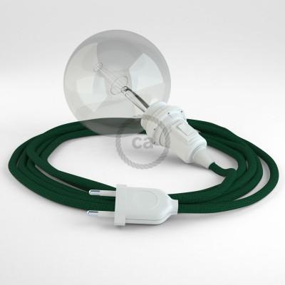 """""""Had"""" závesná lampa pre tienidlo s textilným káblom - hodváb - tmavo zelená RM21"""