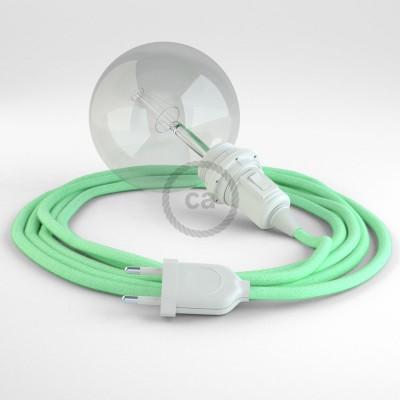 """""""Had"""" závesná lampa pre tienidlo s textilným káblom - bavlna - mliečno mätová RC34"""