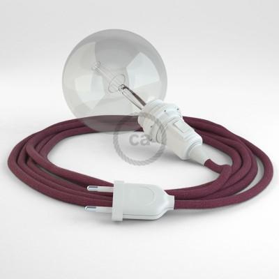 """""""Had"""" závesná lampa pre tienidlo s textilným káblom - bavlna - bordová RC32"""