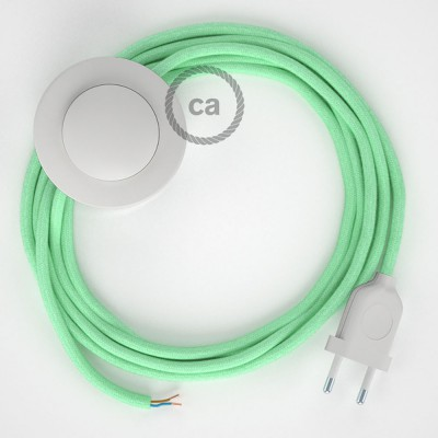 Napájací kábel pre podlahovú lampu, RC34 Mliečno - mätový bavlnený 3 m. Vyberte si farbu zástrčky a vypínača.