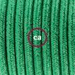 Napájací kábel pre podlahovú lampu, RL06 Zelený hodvábny 3 m. Vyberte si farbu zástrčky a vypínača.
