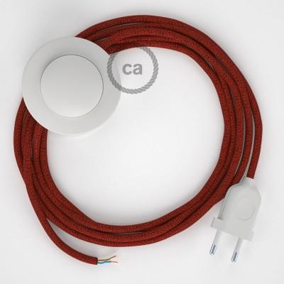 Napájací kábel pre podlahovú lampu, RL09 Červený hodvábny 3 m. Vyberte si farbu zástrčky a vypínača.